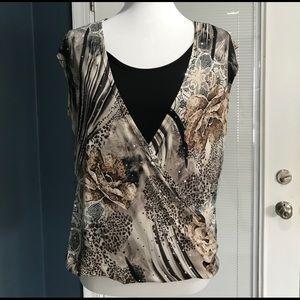 Sleeveless wrap front blouse Sz M